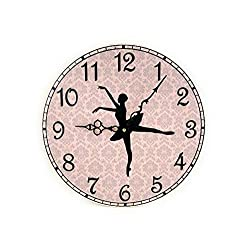 Flowershave357 Ballerina Wall Clock Ballet Wall Decor Pink Damask Wall Clock with Dancer Girls Room Decor Unique Wall Clock Ballet Lover Gift