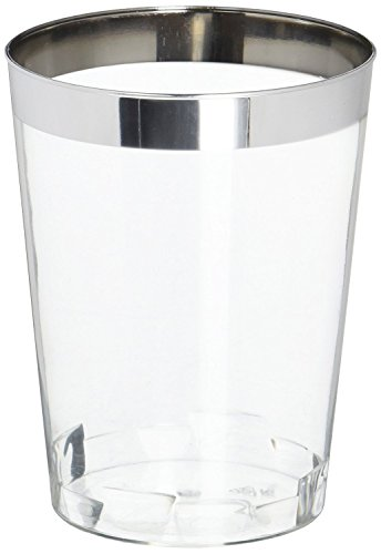 OCCASIONS Wedding Disposable Plastic Tumbler Cups (Silver Rimmed, 10 oz Tumbler, 100 pcs)