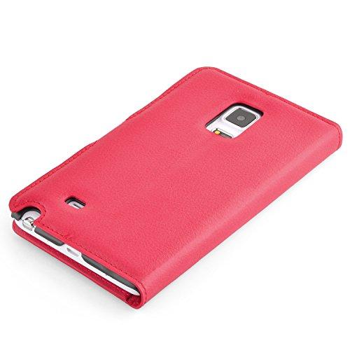 Cadorabo - Funda Samsung Galaxy NOTE EDGE Book Style de Cuero Sintético en Diseño Libro - Etui Case Cover Carcasa Caja Protección (con función de suporte y tarjetero) en VIOLETA-DE-MANGANESO ROJO-CARMÍN