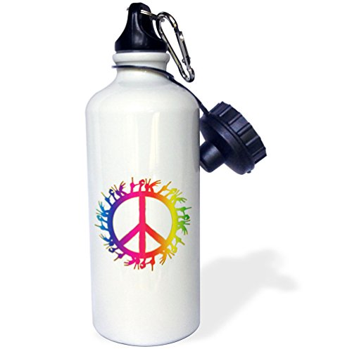 3dRose Sven Herkenrath Symbol - Rainbow Color Peace Love Sign Symbol Hands Freedom Free Design - 21 oz Sports Water Bottle (wb_254318_1) by 3dRose