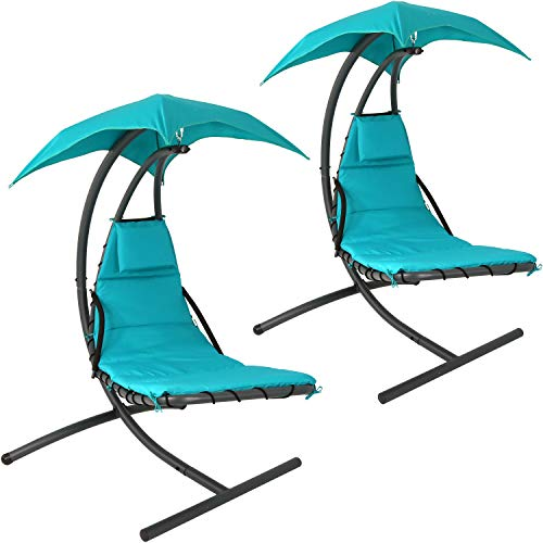 Sunnydaze Floating Chaise Lounger Swing Chair with Canopy, 79 Inch Long, Teal, 260 Pound Capacity, Set of 2
