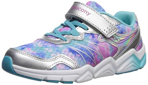 Saucony Girls' Flash A/C Sneaker, Silver/Multi, 11 W US Little Kid
