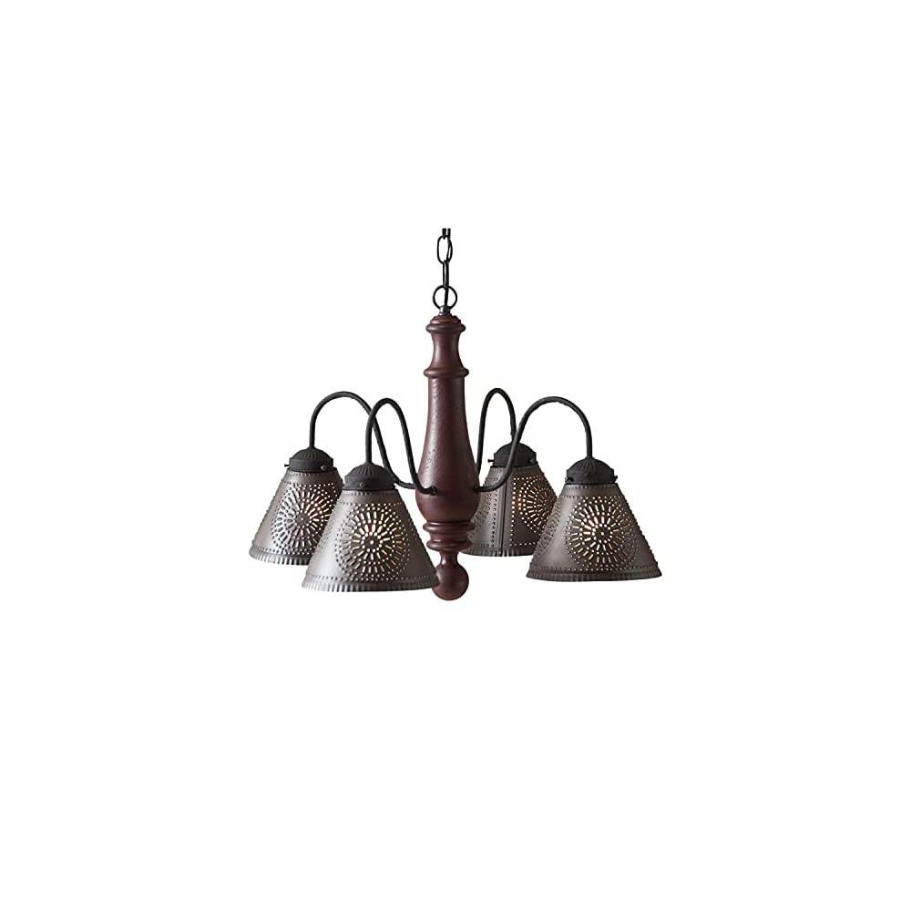 Irvin's Country Tinware Crestwood Chandelier in Plantation Red
