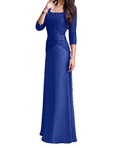 A Rosa Damen Rock Blau Charmant Langarm Abendkleider Lang Ballkleider Brautmutterkleider Royal Linie Spitze 8dOqw