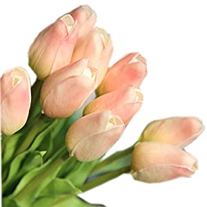 cn-Knight Artificial Flower 30pcs 13'' Faux Tulip Real Touch PU Flower for Wedding Bridal Bouquet Bridesmaid Home Décor Office Hotel Baby Shower Prom Centerpiece Door Wreath 7