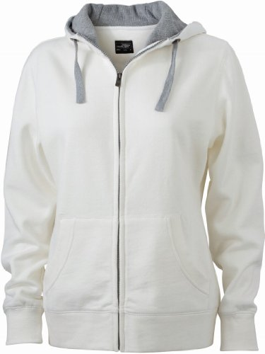 James & Nicholson JN962 Damen Lifestyle Kapuzen-Sweatjacke weiß/grau Gr. XL