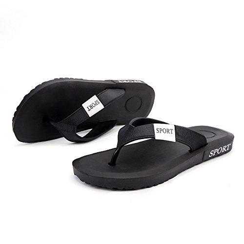 Vertvie Men Comfortable Summer Casual Slipper Beach Flip-Flop Flats Thong Sandals Black LaAkk
