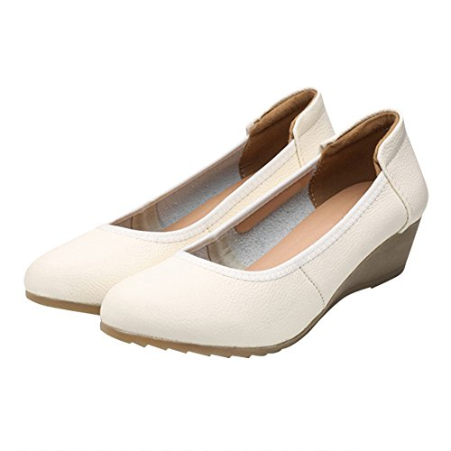 Non Women Optimal wedges Slip Leather Apricot Shoes Pump Work n466WaHg