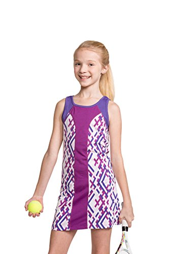 Tennis Girl Costume (Girls Tennis Sleeveless Dress with Shorts Sparkling Grape/Purple)