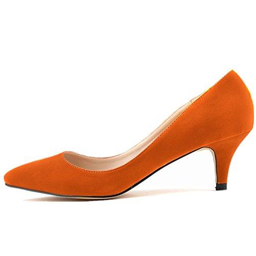 SAMSAY Slender Velvet Heels Kitten Orange Pumps Pointed Shoes Women's Toe Court 551Hqnrx