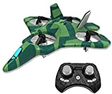 ZEGO Upgraded F22 RC Drones for Kids and Beginner, Easy to Fly and Hover, RC Helicopter Quadcopter Fighter Jet with 360° Flip,LED Light Indication,4 Propellers and 2 Batteries.Gift Toys for Kids_Green