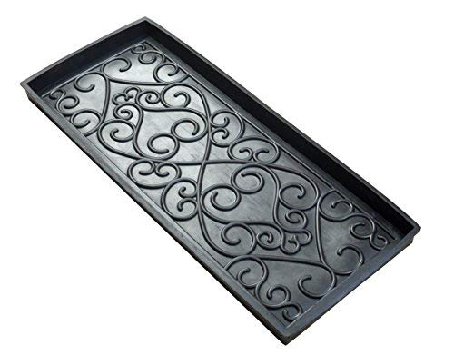 Iron Gate Sculpted Damask Heavy Duty Rubber Boot Tray Door Mat - 34 x 14 x 2 in. - Super Heavy Duty 100% Rubber Construction - Weighs a Hefty 96 Oz, Multi-Purpose All Weather Indoor or Outdoor Usage