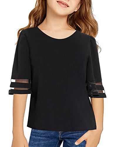 LookbookStore Cute Girl's 2/1 Bell Sleeve Solid Black