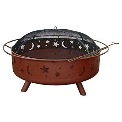 "Landmann USA 28905 Super Sky Fire Pit - Sturdy Steel Construction designed for easy assembly Large 36"" Diameter bowl with full diameter handle for easy transport Includes Full Cover Spark Guard & poker - patio, fire-pits-outdoor-fireplaces, outdoor-decor - 41MOUYBRsOL. SS400  -"