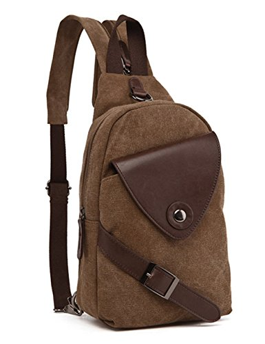 Berchirly Multifunctional Canvas Messenger Bag Small Purse Backpack Coffee
