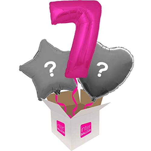 3 Balloon Bouquet InterBalloon Helium Inflated 34  Number 7 Pink Megaloon Balloon Delivered in a Box with 4 Extra Balloons of your choice