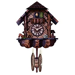 River city clocks musical cuckoo clock with hand-carved case and feeding deer, 10-inch tall