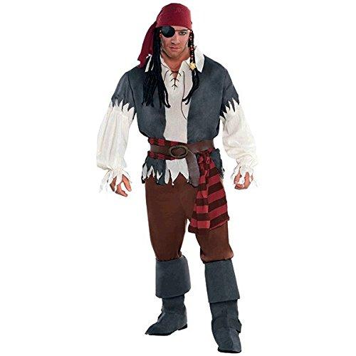 Amscan 844173 Adult Castaway Captain Pirate Costume, Plus 2XL (48-52), Black