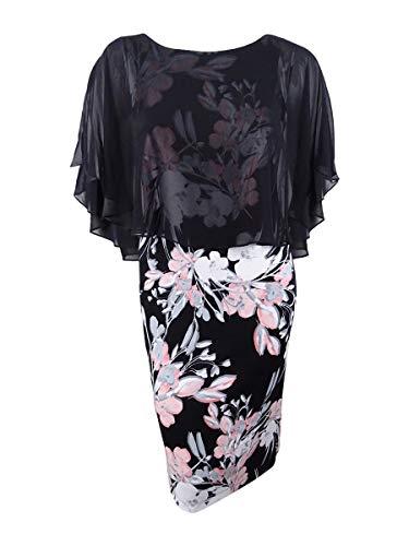 (Connected Women's Chiffon Cape Floral-Print Dress (10, Blush))