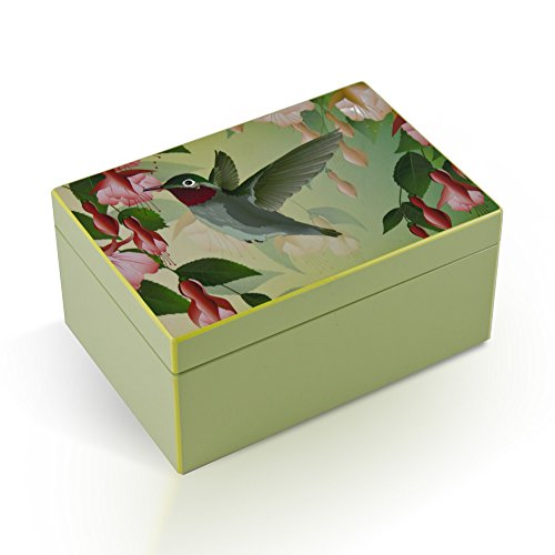 Hi-Gloss Pastel Green Hummingbird Feeding Musical Jewelry Box By Twinkle - Rock of Ages - Christian Version by MusicBoxAttic
