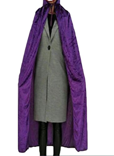 Purple Leisure Suit Adult Costumes (Nicelly Women Hood Hallowmas Vogue Pure Color Gold Velvet Leisure Poncho Purple OS)