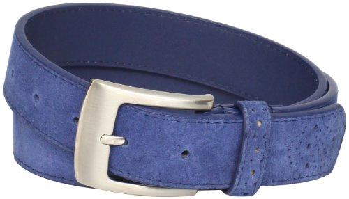Stacy Adams Men's 32mm Genuine Leather Belt With Perforated Tip and Keeper, Blue Suede, 38 (Adam Belt Buckle)