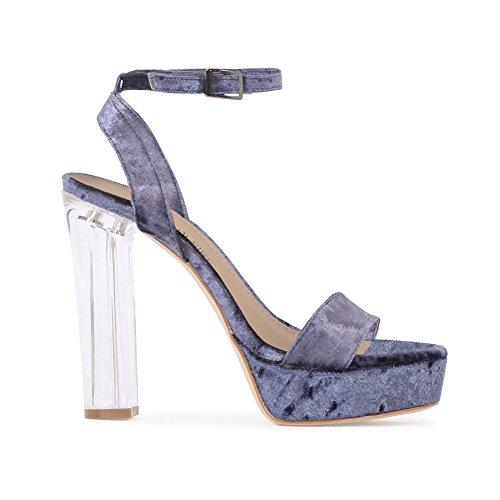 Womens Buckle Platform Perspex Heel Block Heels Velvet Navy Size 3-8 h9hCj4W5