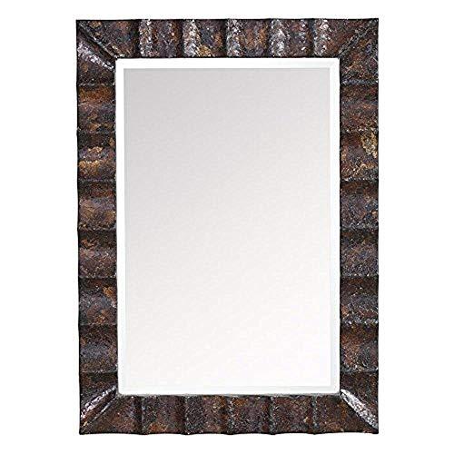 Kichler  78176 Flicker 43.5-Inch Beveled Mirror, Golden Brown Crackle Glass and Matte Black Frame
