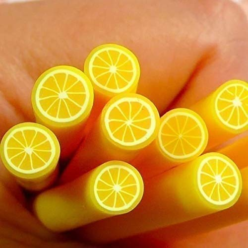 10pcs Yellow Citrus Lemon Fruit Polymer Clay FIMO Slices, Rod Canes Sticks, Nail Art Manicure Scrapbooking Design Kawaii DIY Stickers Resin