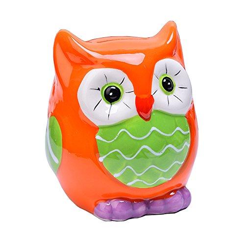 ToiM Owl Shape Cute Cartoon Money Box Resin Piggy Bank Jar Money Coin Bank Room Ornaments House Accessory (Orange) (Owl Bank)