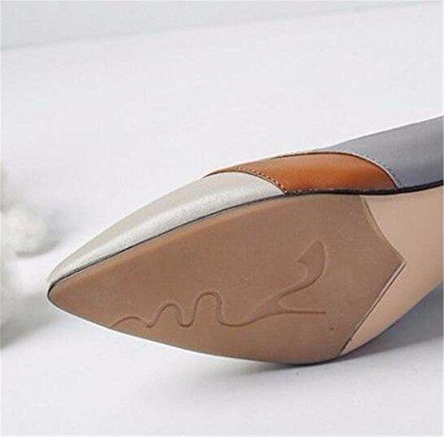 35 EU39 cinturino gomito tacco GAOGENX a alla in misto colore donna in vera Scarpe taglia con di 39 pelle da qR0wHa