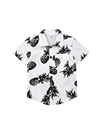 Baby Boys Button Down Shirts Pineapple Print Short Sleeve Hawaiian Shirt Summer Beach Clothes