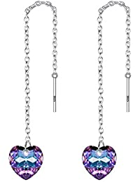 925 Sterling Silver Cute Love Heart Ear Threader Dangle Earrings Adorned with Swarovski crystals