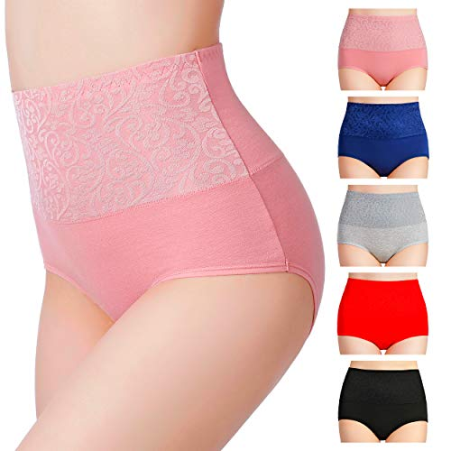 Hcaixing Womens Cotton Briefs High Waist Underwear Tummy Control C Section Recovery Soft Stretch Panties(5 Pack) (Color 1, S)