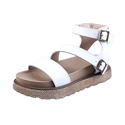 OCHENTA Mujer Romana sandalias de verano cerrojo corteza gruesa #08Blanco