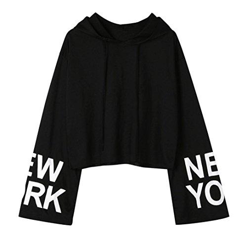 Sexyville Femmes Printemps Lettres Sweat à capuche à manches longues Sweatshirt Pull Blouse tops