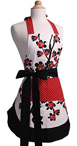 Flirty Aprons Women's Original Apron, Cherry Blossom