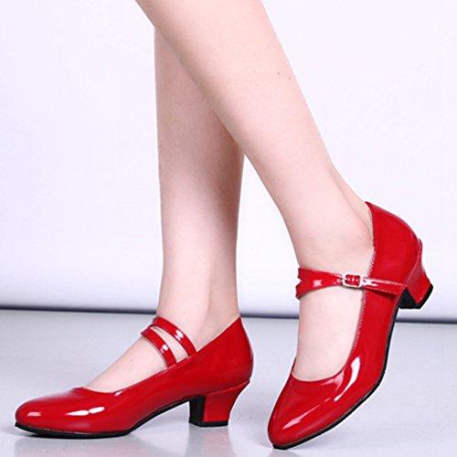 Chaussures À Talons Bas De Lihaer Femmes Classique Mode Dames Professionnels Chaussures De Danse Latine De Vin Rouge