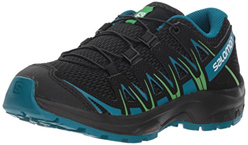 Salomon Kids XA Pro 3D J, Trail Running Shoe, black / deep lagoon / onlime lime ,  Child 5 (Best Running Shoes For Children)