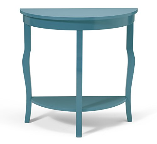 Kate and Laurel Lillian Wood Half Moon Console Table Curved Legs with Shelf, Teal