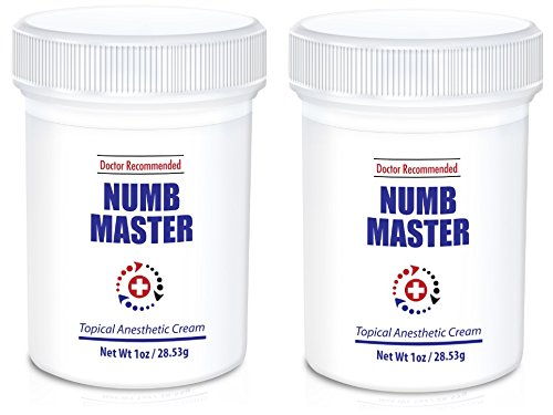 (2-Pack) Numb Master Topical Anesthetic Liposomal Lidocaine Cream, Made in USA, Non-oily (1 Oz)