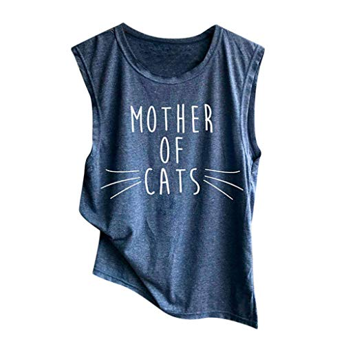 TWGONE Mother of Cats T Shirt Womens Sleeveless Saying Tank Top Casual Loose Blouse (Small,Blue-6)
