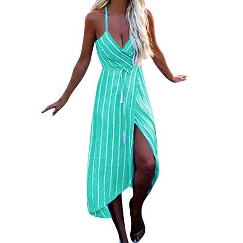 Makaor Vestido de Verano para Mujer, con Diseño de Rayas Maxi, para Fiestas, Playa, Vestido, Cinturón de Vestir, Verde,...