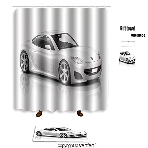 Vanfan Bath Sets With Polyester Rugs And Shower Curtain Illustration Of Transportation Technology Car Shower Curtains Sets Bathroom 40 X 72 Inches 23 6 X 15 7 Inches Free 1 Towel And 12 Hooks
