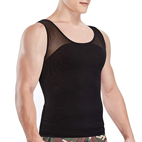 Hoter Mens Compression Shirt to Hide Gynecomastia Moobs Chest Slimming Body Shaper Undershirt