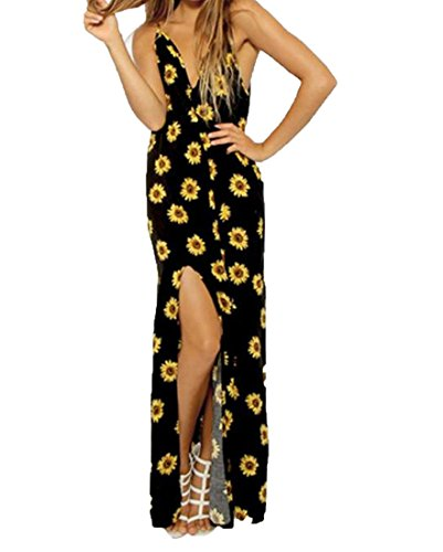 Abetteric Women's Sunflower Wild Backless Cut Out Beach Long Dress As picture M