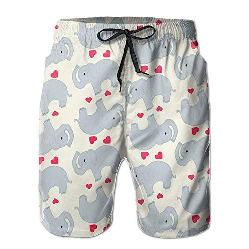 Pants Youth For Mens Love Adult Beach Casual Summer Art Custom Shorts Elephant 8qB0SwP