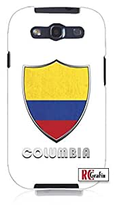 Premium Columbia Flag Badge Direct UV Printed Unique Quality Hard Snap On Case for Samsung Galaxy S3 SIII i9300 (WHITE) by icecream design