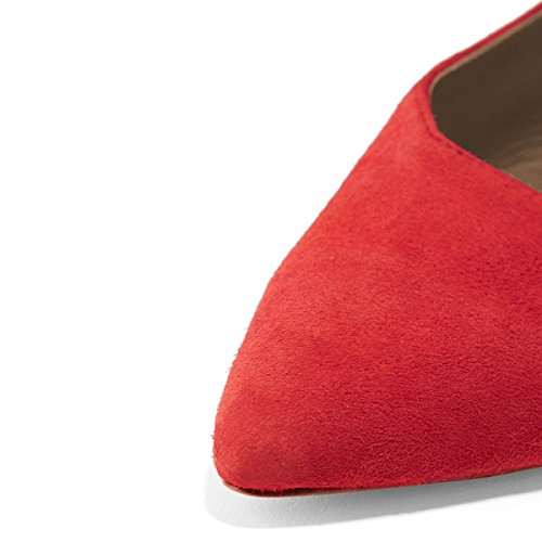 Red Buckle Casual Pointed Block Shoes Women's Sandals Slingback Low with Toe Slide YDN Pumps Heels xwZ6UTp1q