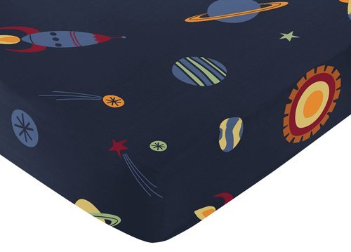 Sweet Jojo Designs Fitted Crib Sheet for Space Galaxy Baby/Toddler Bedding Set Collection - Galactic (Space Galaxy)